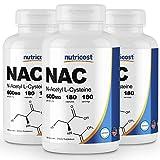 Nutricost N-Acetyl L-Cysteine (NAC) 600mg; 180 Caps (3 Bottles)