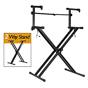 partysaving pro series portable 2 tier doubled keyboard stand with locking straps. Black Bedroom Furniture Sets. Home Design Ideas