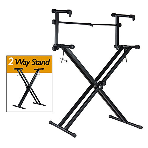Review Of PARTYSAVING Pro Series Portable 2 Tier Doubled Keyboard Stand with Locking Straps APL1158,...
