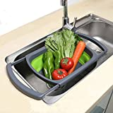 Fairbridge Kitchen Collapsible Colander, Over The Sink Strainer With Steady Base For Standing, 6-quart Capacity, Dishwasher-Safe,BPA Free