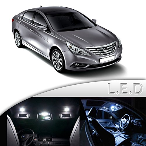 8 x White LED Interior Lights Package Kit For Hyundai Sonata 2011+ All Models