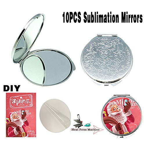 (UOhost 10 PCS Sublimation Blanks Round Pocket Mirror Heat Transfer Engraved DIY for Women Men Fashion Makeup Compact Mirrors)