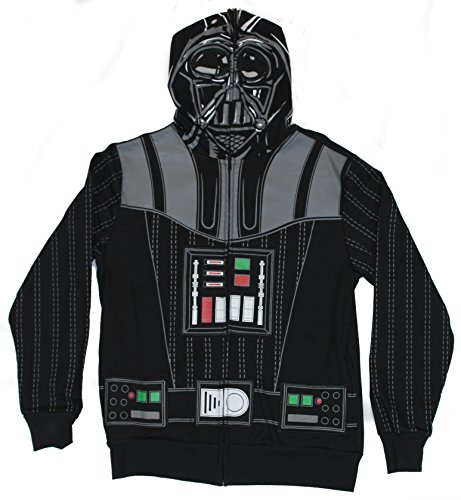 [Star Wars Mens Hoodie Sweatshirt - Darth Vader Costume Front With Zip Up Mask (Small) Black] (Star Wars Mens Zip Up Costume Hoodie)