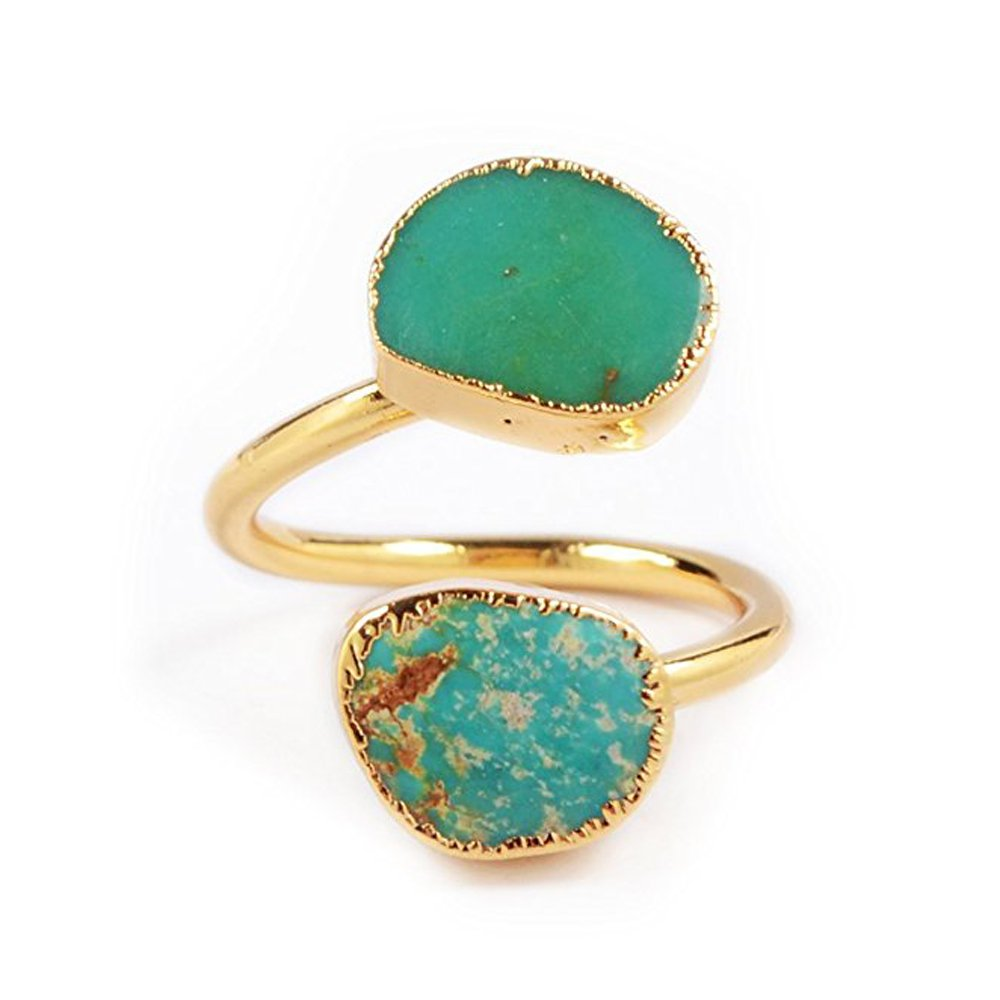 ZENGORI Pretty Natural Turquoise Wrap Adjustable Ring Gold Freeform Genuine Turquoise Ring G0183
