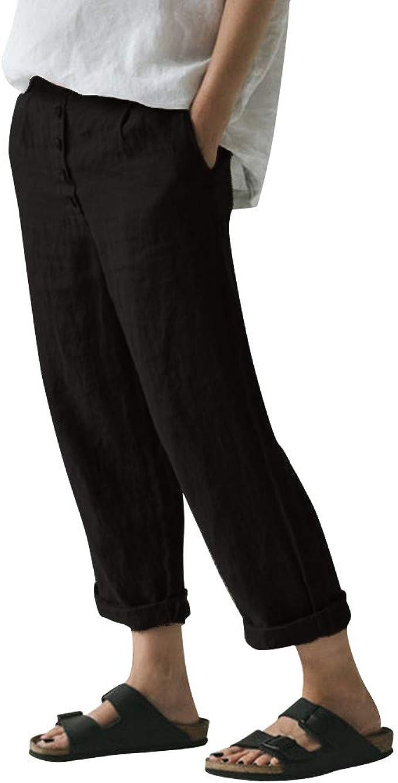 TIANMI - Pantalón Informal de Lino y algodón para Mujer, Suelto, Pierna Ancha - Negro - Small: Amazon.es: Ropa y accesorios