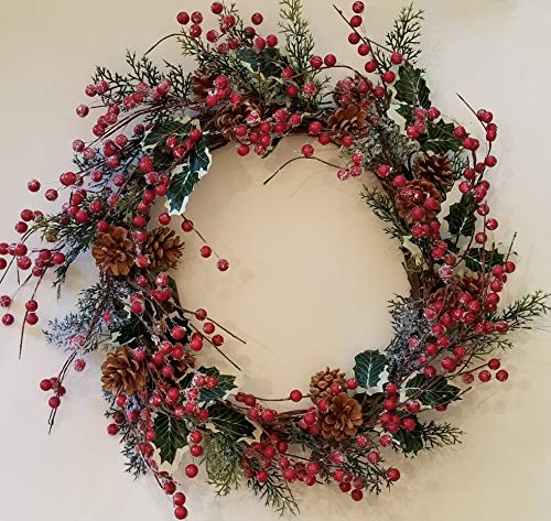 Holly Red Berry Pinecone Frosted Snow Christmas Winter Holiday Door Wreath Candle Ring -