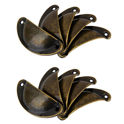 10Pcs Victorian style Cup Shell Cupboard Drawer Cabinet Pull Handle (Ancient Bronze Cup Pull)