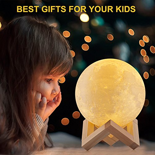 Unitake Luna Moon Night Light 3D Printed Touch Control Led Beside Table Lamp Rechargeable Battery Operated for Baby Nursery Kid Bedroom Valentine Gifts (5.9IN Moon Light with With Wood Base) by Unitake (Image #2)