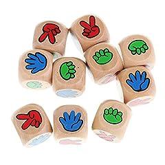 B Baosity 10個 木製 6面ダイス DIY装飾 工芸 ゲーム骰子 じゃんけんぽん サイコロ 教室ホームゲーム用