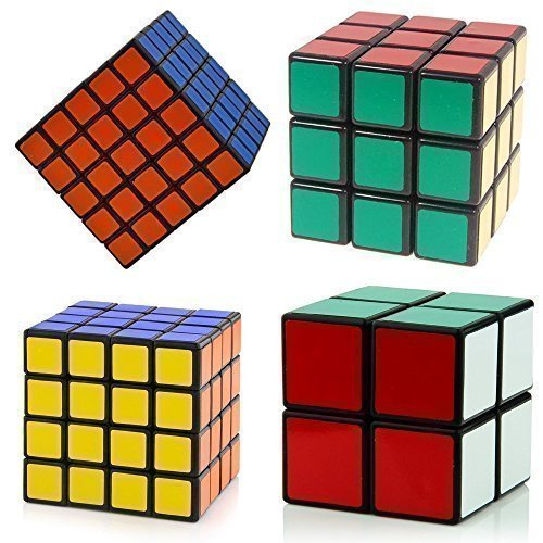 Amazon #LightningDeal 80% claimed: Super Value - Magic Speed - Cube Puzzle 4 in One Set - Cube Pack of 2x2 , 3x3 , 4x4 , 5x5- Sticker Speed Edition - Black