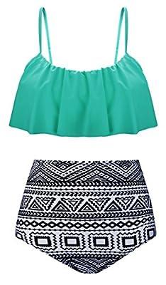 Aixy Women's Cute Ruffles Strap Swimsuit Crop Top Flounce Bikini Set