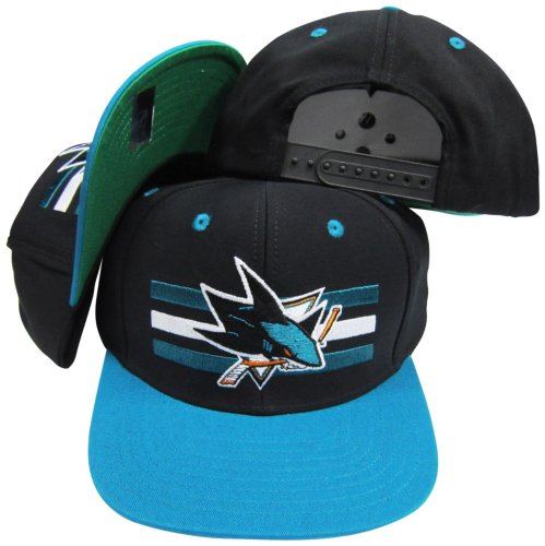 San Jose Sharks Black/Teal Two Tone Snapback Adjustable Plastic Snap Back Hat/Cap