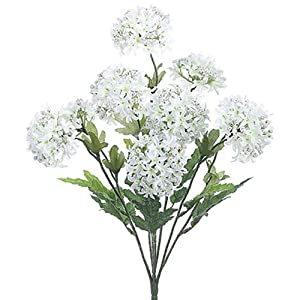 "18"" Silk Snowball Flower Bush -White (Pack of 12) 5"