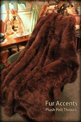 Fur Accents Throw Blanket / Coverlet / Brown Shaggy Bear Skin Faux Fur 5'x6'