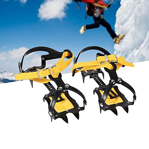 Filfeel Professional Climbing Ski Belt High Altitude Below 6000 Feet Hiking Slip-Resistant Snow,Climbing Snow Ice Shoe Spikes,Grips,Anti Slip Spikes Strap Type Crampons,Cleats 10 Teeth Man