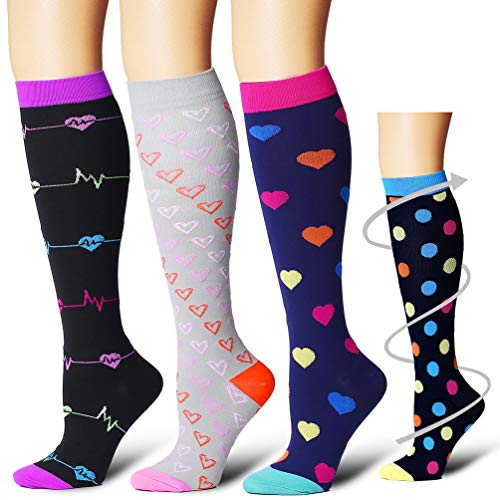 Compression Socks Women & Men - Best for Running,Medical,Athletic Sports,Flight Travel, Pregnancy(Assort4-3pack-L/XL) by Bluemaple