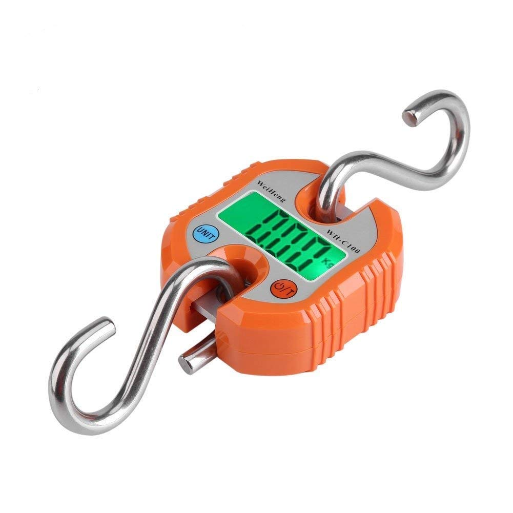 Fdit Digital Professional Portable Crane 150 Kg LCD Digital Electronic Hook Hanging Scales Loop Weighing Balance for Home Farm Factory Hunting Outdoor(Orange)
