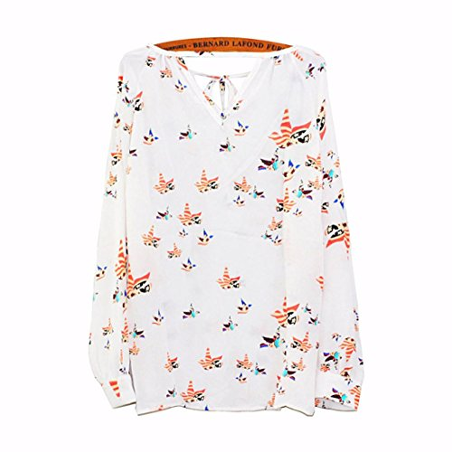 Femme FeiTong longues Tether chiffon T Chemises floral Casual Blouse shirt Summer Femmes manches pA5dwaq