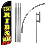 Best Ribs Here Windless Feather Swooper Flag Kit Banner Sign kz