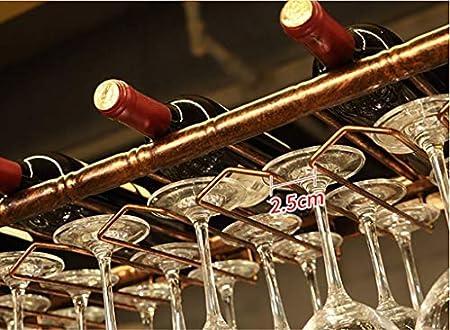 HJXSXHZ366 Estantería de Vino Wine Rack Holder Copa Barra Colgante de la Copa de Vino Titular de la Cocina, Bar, Restaurante Estante de Vino pequeño (Color : Black, Size : 60 * 30cm)