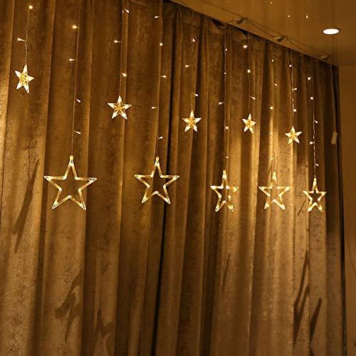 Yzpyd LED Ventana Estrella Cortinas Cuento De Hadas Cadena 8 Flash Modo Memoria 2,5 M × 1M Interior...