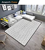 Bigdatastore Animal Print Animals Area Rug Office, Crocodile Leather Pattern in Material Fashion Theme Design Print, Durable Carpet Area Rug - Living Dinning Room Bedroom Rugs and Carpets(2'x 6')