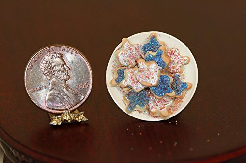 By Barb Dollhouse Minaiture Plate of Freshly Iced Dreidel Cookies for Jewish Chanukah