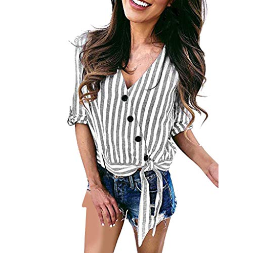 Striped Tab Sleeve Tee - Lefthigh Women's V-neck Striped Button Knotted T-Shirt Tops, V-Neck Tops Roll Tab Sleeve Irregular Fashion Blouses