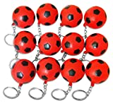 Novel Merk 12 Pack Red Soccer Ball Keychains for Kids Party Favors & School Carnival Prizes