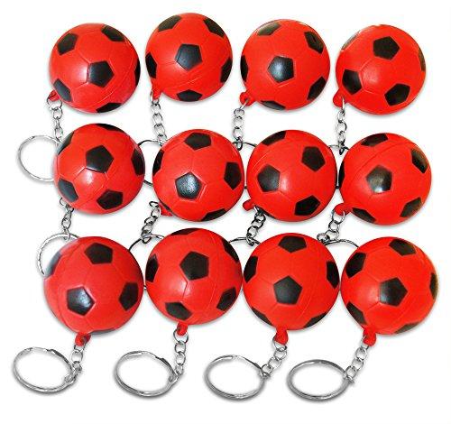 Novel Merk 12 Pack Red Soccer Ball Keychains for Kids Party Favors & School Carnival Prizes by Novel Merk