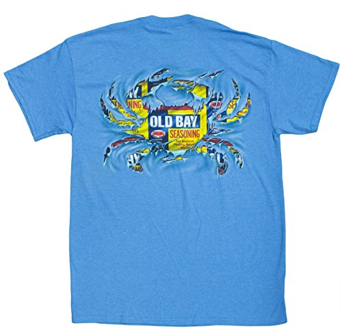 Maryland My Maryland Men's Officially Licensed Old Bay Ripped Crab T-Shirt (Blue) (Medium)