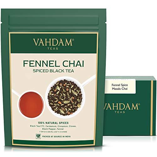 VAHDAM, te de hinojo, (100 tazas) | ESPECIAS 100% NATURALES | Hojas de te chai con especias | Delicioso y saludable | Te diario de desintoxicacion | Masala Chai Tea, de la India | 100g (Set of 2)