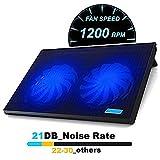 Laptop Cooling Pad, BenchMart Gaming Laptop Radiator Cooler with 2 Blue LED 1200RPM