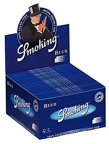 6 Smoking Blue Ultra Thin True King Size Cigarette Rolling Papers Packs (33 Leaves/Pack) + Beamer Smoke Sticker. For Legal Smoking Herbs, Rolling Tobacco, Herbal Mixes, Rollers, Injectors, Ryo, Myo (Flavored Pipe Tobacco)