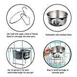 MLCINI Hanging Pet Bowl, Stainless Steel Food Water Bowls Bunny Feeder with Hook for Dogs Cats in Crate Cage Kennel