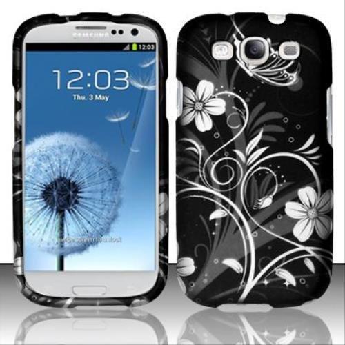 Flowers Design Rubberized White - Rubberized White Flowers Design for SAMSUNG Samsung Galaxy S3 i9300
