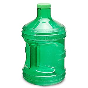 1 Gallon BPA FREE Reusable Plastic Drinking Water Big Mouth Bottle Jug Container with Holder - Green