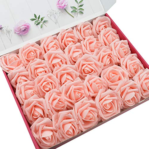 Flower Wedding Centerpiece (DerBlue 60pcs Artificial Roses Flowers Real Looking Fake Roses Artificial Foam Roses Decoration DIY for Wedding Bouquets Centerpieces,Arrangements Party Baby Shower Home Decorations (Pink))