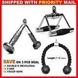 3 Pieces Cable Attachments Deal: Tricep V Shaped Press Down Bar with Rubber Handgrips, Triceps Rope, Double D Handle For Sale