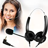 AGPtek 2.5mm Dual Ear Call Center Telephone Headphone, 6FT Noise Cancelling Binaural Headset, with Boom-style Mic for Panasonic Desk Phones, Most Cordless Phones