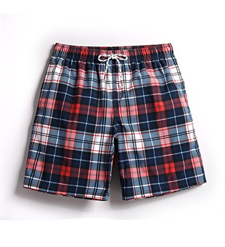 (Mens Plaid Swim Trunks Printing Medium)