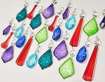 6 Chandelier Verre Lumière Turquoise gouttelettes de Cristaux Décorations pour arbres de Noël Gouttes