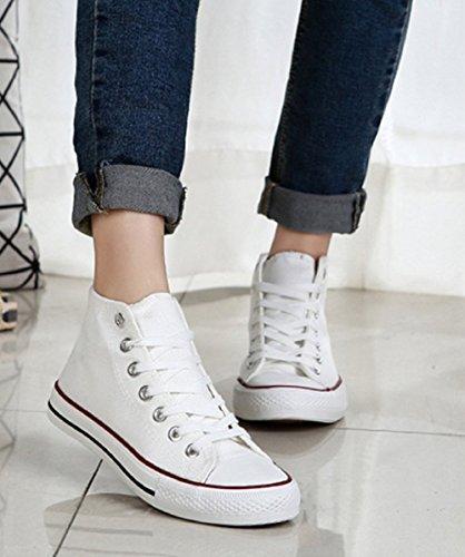 (Taglia 37 Adatta A Un piede Di Lunghezza 23Cm)-Scarpe Da Ginnastica Alte Per Donna In Tela Colore Bianco