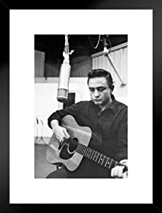 Pyramid America Johnny Cash Black and White Photo Image Classic Retro Vintage Country Music Matted Framed Wall Decor Art Print 20x26