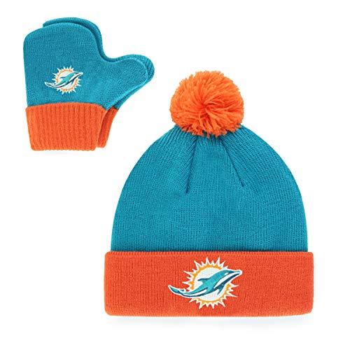 OTS NFL Miami Dolphins Pow Knit Cap & Mittens Set, Neptune, Infant