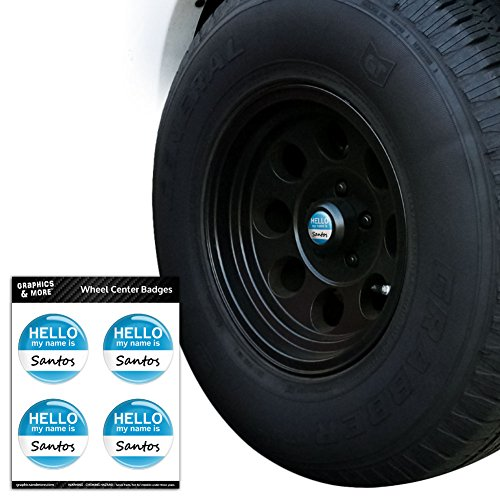 Hello Santa - Santos Hello My Name Is Tire Wheel Center Cap Resin-Topped Badges Stickers - 2.2