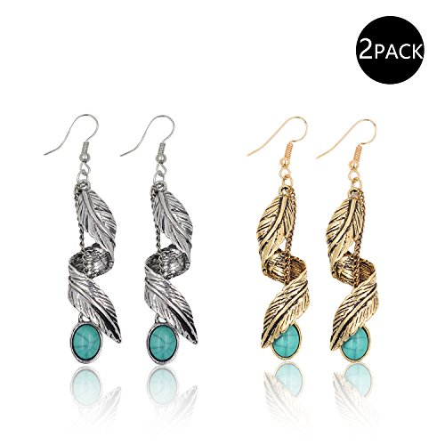 ted Turquoise Long Dangle&Drop Earrings Jewelry Sets for Women&Girls (2 Pair (Gold+Silver) Spiral Leaf Design 2.75