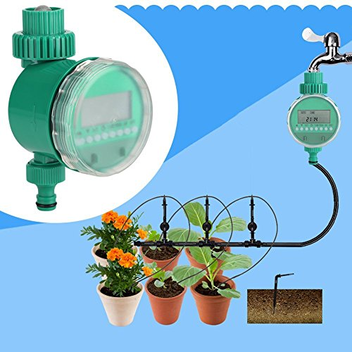 Zerodis Drip Irrigation Timer Controller with Filter to Tubing,Automatic Watering Timer for Potted Plants Flowers Watering
