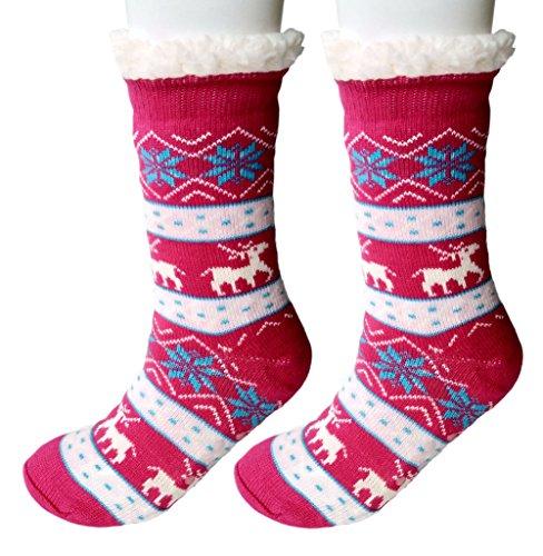 Tube Lined Rose (Women's Winter Slipper Socks Snowflake Elk Fleece Lining Knit Tube Socks Christmas Stockings (A Elk 2 Rose Red))