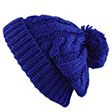 THE HAT DEPOT Winter Thick and Warm Pom Pom Fleece Lined Skully Knit Beanie Hat (Royal Blue)
